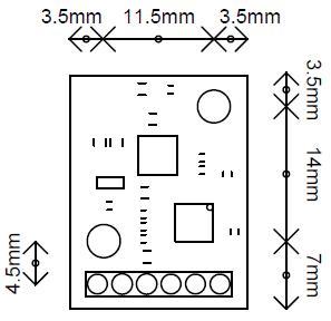 ابعاد ماژول قطب نما دیجیتال CMPS11