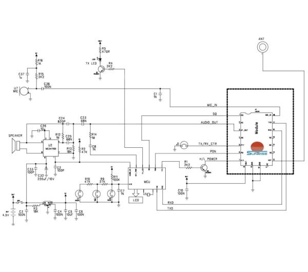نقشه مدار واکی تاکی SR_FRS_1WV برد بلند اتصال به آردوینو یا میکروکنترلر