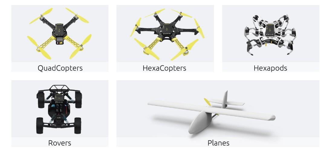 اتوپایلوت کوادکوپتر، هگزاکوپتر، Hexapods، Rovers و هواپیما
