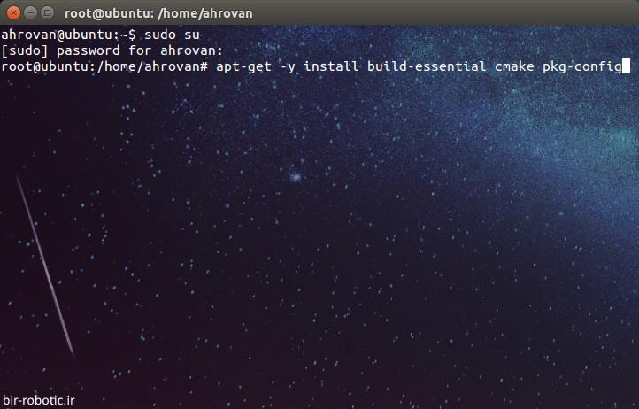 نصب پیش نیاز های opencv، مانند build_essential و cmake و pkg در لینوکس