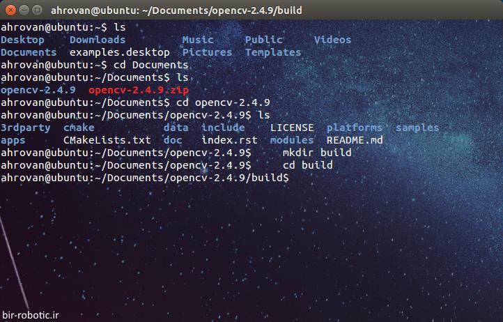 ساخت پوشه ی Build OpenCV