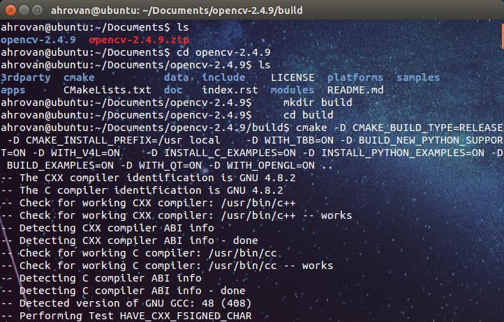 اجرای cmake برای OpenCV