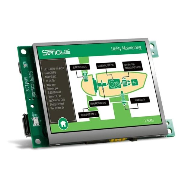 نمایشگر تاچ پنل صنعتی HMI SIM115 از نمای جلو، برای کنترل و مدیریت خط تولید صنعتی
