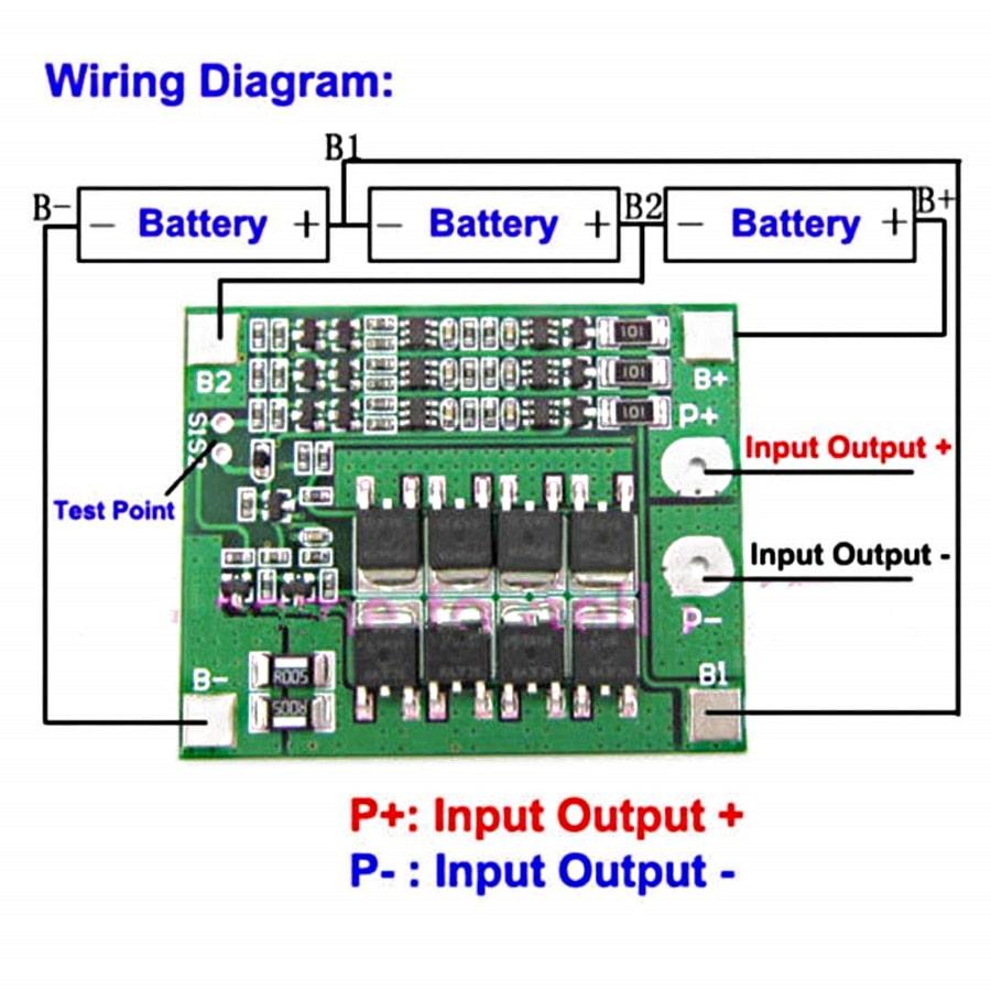 راهنمای سیمبندی محافظ باتری 3-سل با ولتاژ 11.1/12.6 ولت