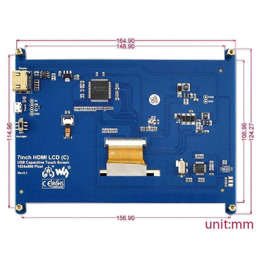 ابعاد مانیتور 7 اینچ مناسب برای رزبری پای و کامپیوتر صنعتی
