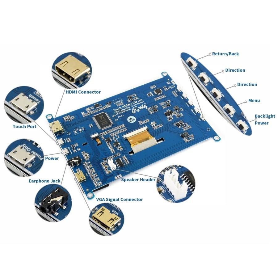 نمایشگر lcd فول کالر تاچ 7 اینچ دارای ورودی hdmi محصول waveshare