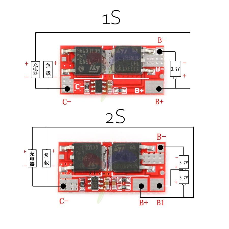 ماژول محافظ باتری 1-سل 2-سل لیتیوم