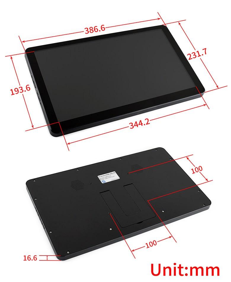 ابعاد نمایشگر 15 اینچی لمسی