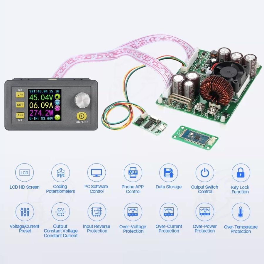ماژول تنظیم جریان 5 و 10 و 20 آمپر با قابلیت کنترل جریان و ولتاژ خروجی