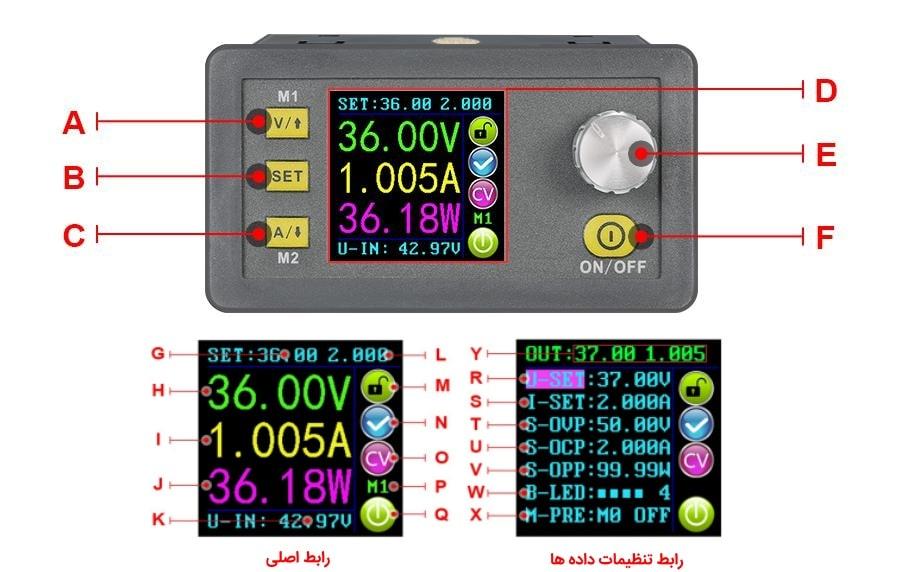 ماژول کنترل ولتاژ و جریان منبع تغذیه با نمایشگر