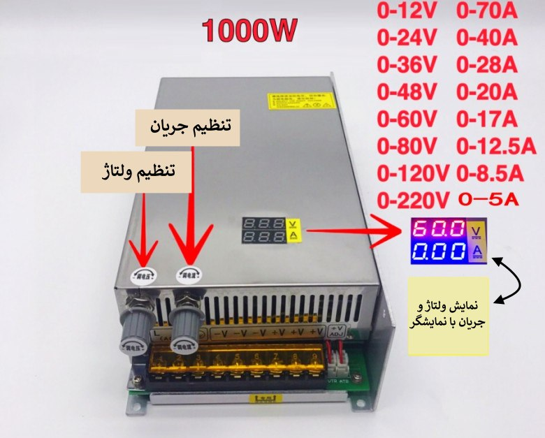 منبع تغذیه با جریان و ولتاژ در رنج های 0-12-24-36-48-60-80-120 ولت