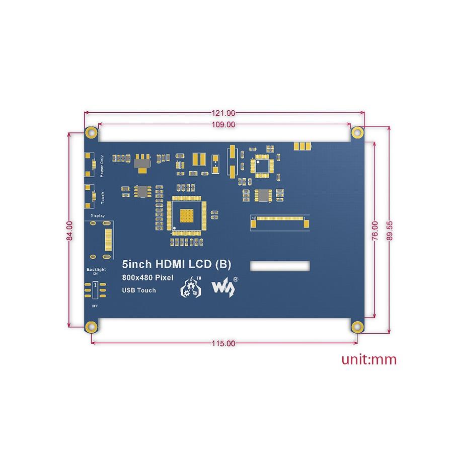 سایز نمایشگر 5 اینچ HDMI مدل B