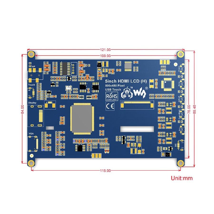 سایز نمایشگر 5 اینچ HDMI مدل H