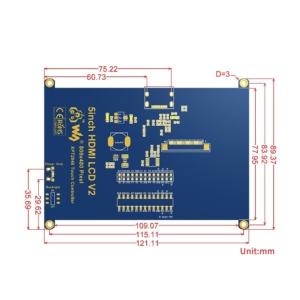 سایز نمایشگر 5 اینچ HDMI مدل عمومی