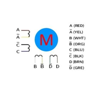 استپ موتور چهار فاز هشت سیم (Four-phase eight lines)