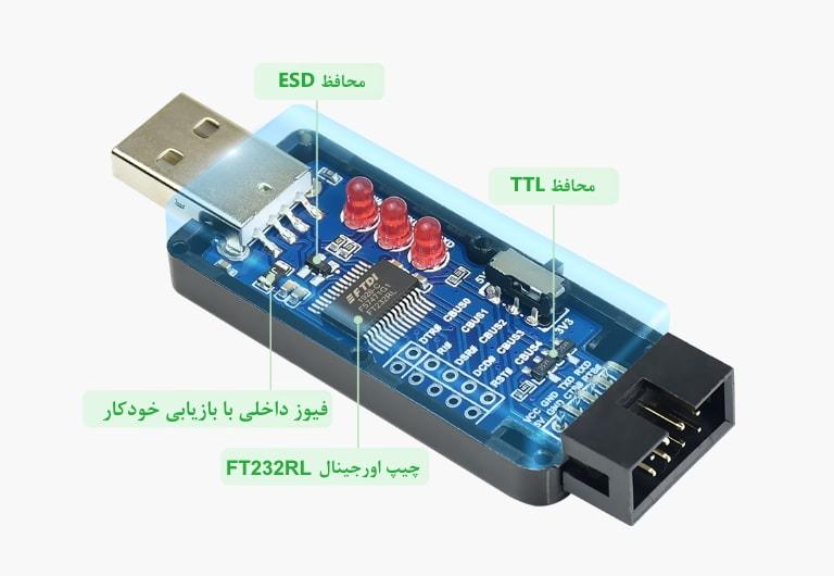 مبدل یو اس بی به TTL با محافظ ESD و TTL