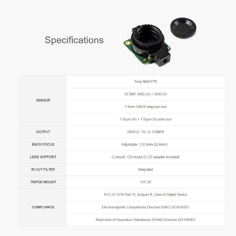 مشخصات دوربین HQ رزبری پای