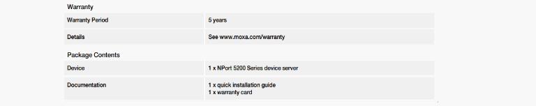 مبدل اترنت به RS422/485 دو پورت MOXA جدول مشخصات 3