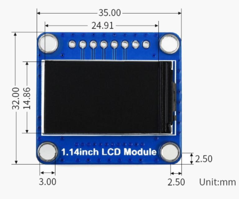 نمایشگر LCD رنگی 1.14 اینچی